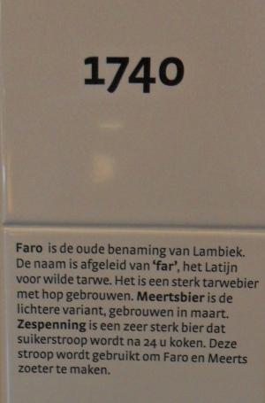 Fragment van de tijdslijn opgesteld in bezoekerscentrum De Lambiek in Alsemberg.
