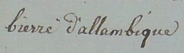 Vermelding van 'bierre d'allambique' in de getuigenverklaring van de weduwe Van Assche, Brussels brouwer, gedagtekend 1 frimaire jaar III. (c) lambik1801.be